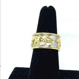 Vintage 14K Gold Stalking Panther Ring